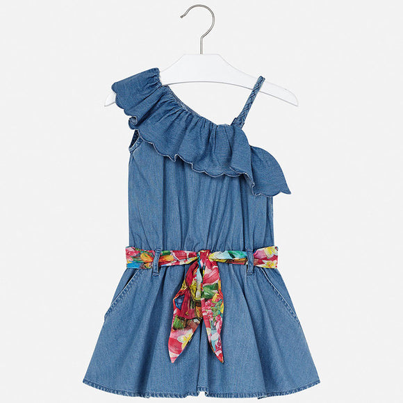 Chambray Belted Romper MAYORAL