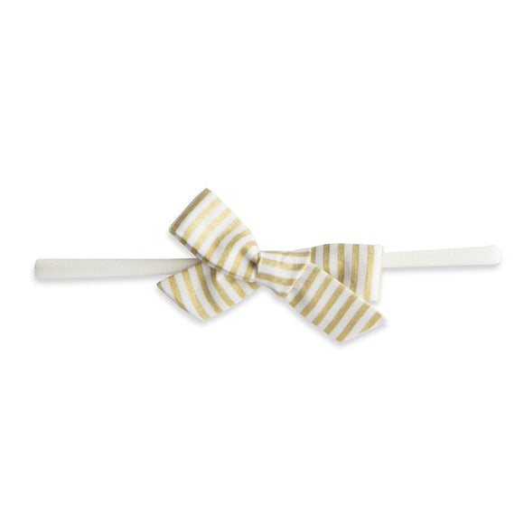 Stripe Skinny Bow Headband in Gold   BABY BLING