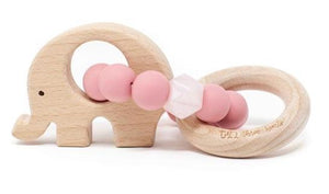 Elephant Teether in Dusty Rose THREE HEARTS