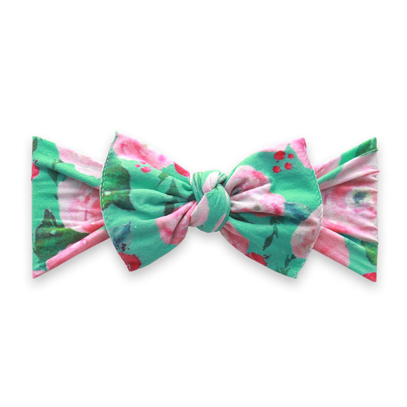 Mint Floral Printed Knot BABY BLING