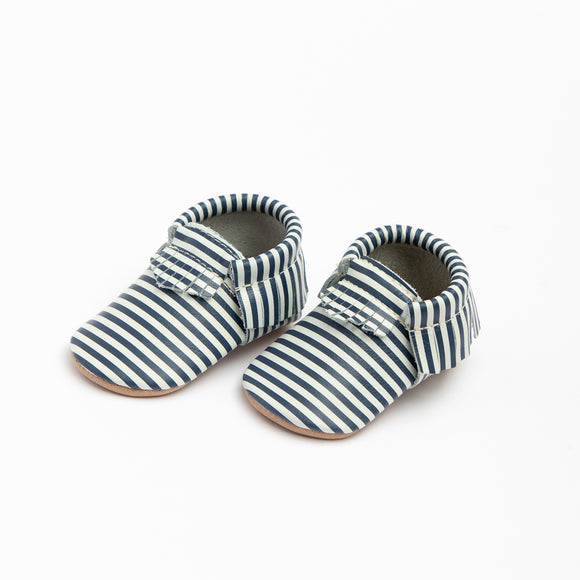 Navy & White Stripe Moccasin FRESHLY PICKED