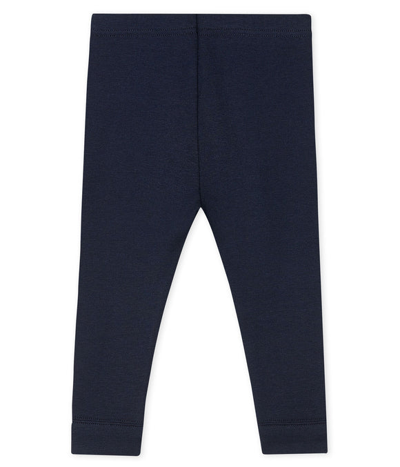 Navy Blue Cotton Leggings                           PETIT BATEAU
