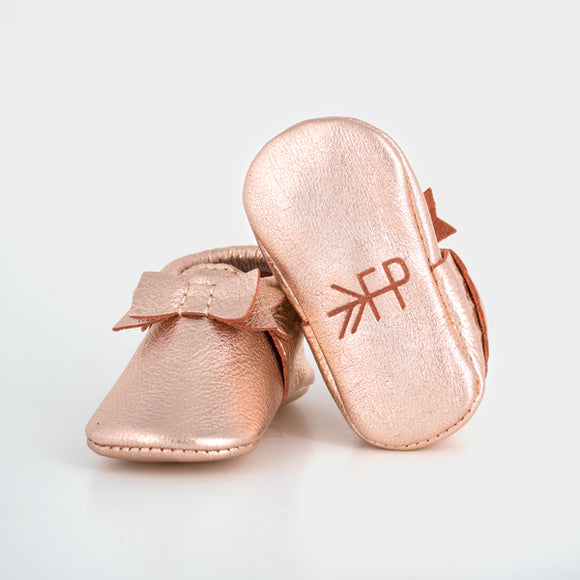 Rose Gold Flat Bow Moccasin FRESHLY PICKED