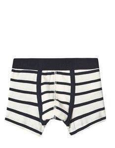Dark Navy Blue and White Stripe Boxers PETIT BATEAU