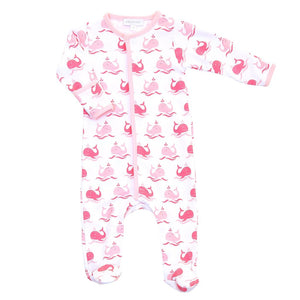 Whales Printed Zipped Footie in Pink MAGNOLIA BABY