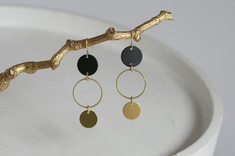 Black and Brass Statement Earrings