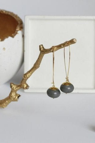Architectural Concrete and Brass Earrings