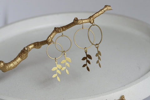 DELICATE BRASS LEAF AND CIRCLE EARRINGS