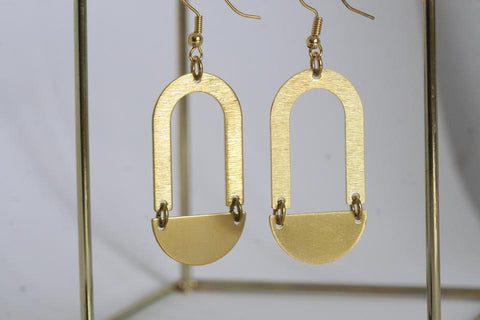 Statement Earrings - Brass - U and Semicircle