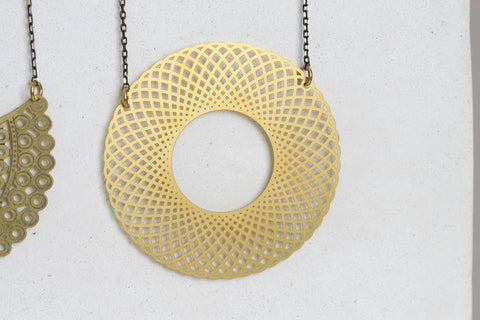 Laser Cut Circle Brass Necklace -  Jewellery