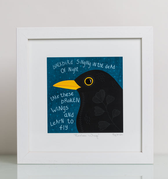 Blackbird (Lyrics) – Square Giclée art print