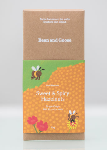 Sweet and Spicy Hazelnuts Chocolate Bar Milk 40% Ecuador