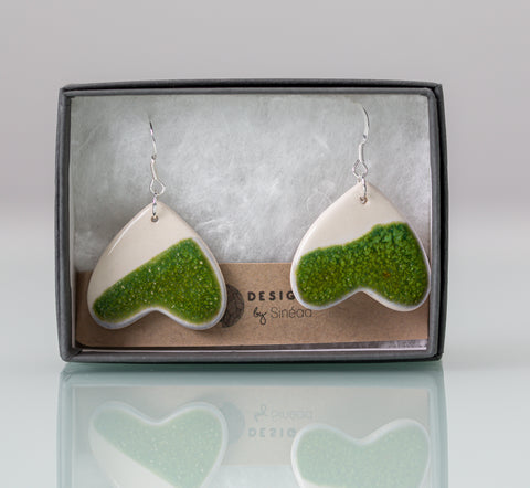 Sweetheart Drop Earring - Forest Moss Green & White - Designs by Sinead