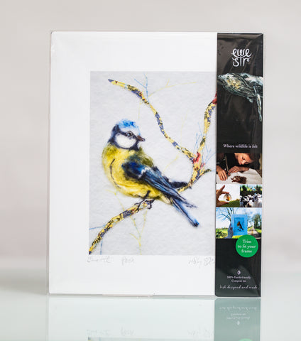 Bluetit Art Print - Perched upon my Soul
