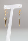Geometric Raw Brass Earrings - Double Diamond