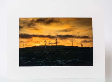Sunset at Windpark - Mounted Print