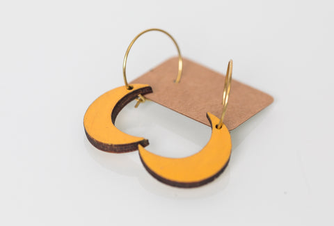 Wood Moon Studio - Light Orange crescent moon hoop earrings