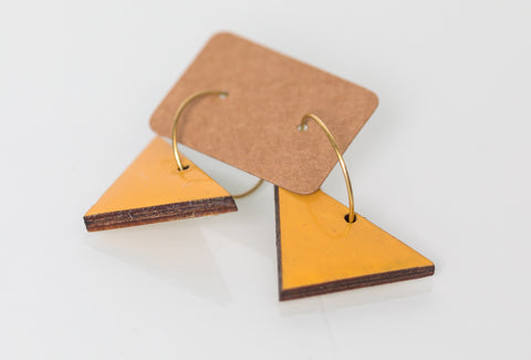 Wood Moon Studio - Light Orange geometric triangle hoop earrings