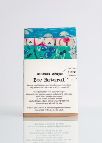 Beeswax Wraps - 3 Pack (2 large & 1 medium)