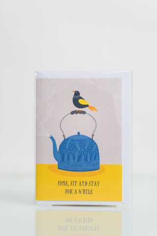 Come, Sit and Stay for a While - Greeting Card