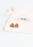 Eco Heart Studs in Dark Wood