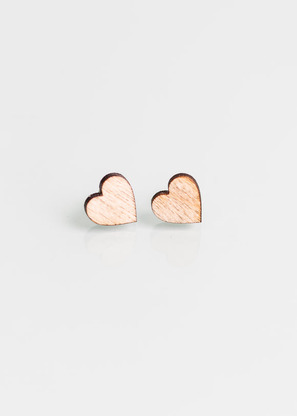 Eco Heart Studs in Natural Wood