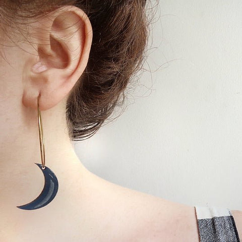 Wood Moon Studio - Blue moon large hoop earrings