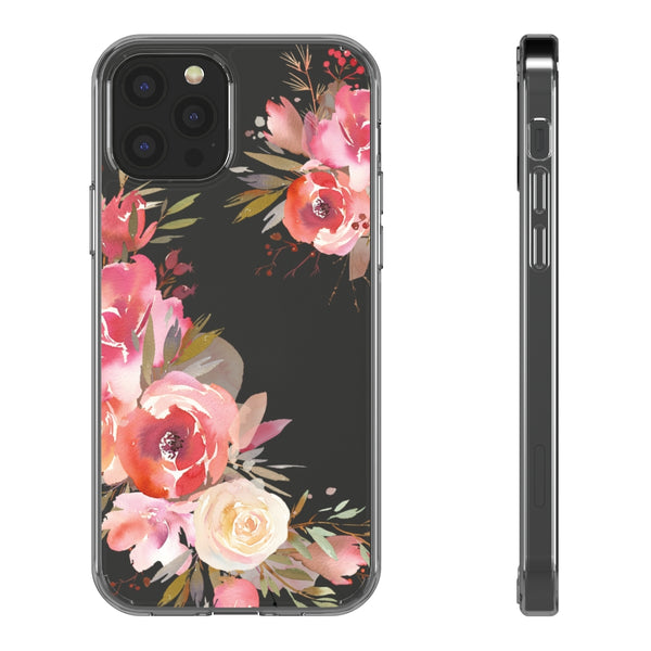 Peach Floral Clear iPhone Case