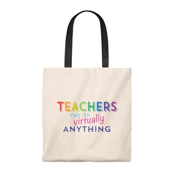 Teachers Can Do Virtually Anything Vintage Tote Bag with Choice of Handle Color