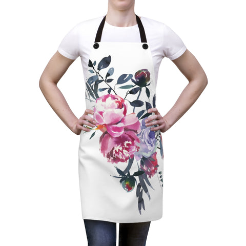 Gray and Pink Floral Apron