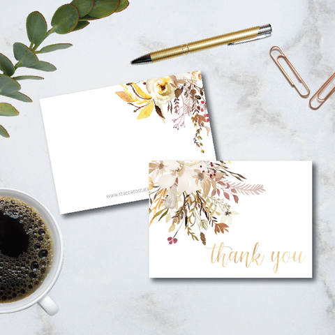 autumn floral artwork with a pretty calligraphy thank you graces the front of this pretty folded 4-bar note card.