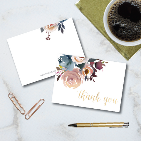 Floral artwork in navy, burgundy, and blush watercolor floral artwork graces the front of these folded 4-bar note cards with calligraphy thank you message.