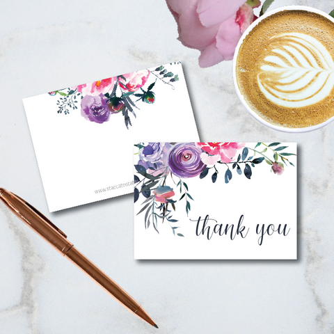 "pretty purple floral watercolor artwork with ""thank you"" message graces the front of this folded 4-bar note card."