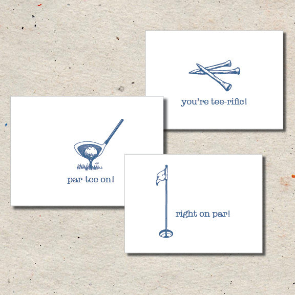 "Set of three folded note cards: ""Par-tee On!"", ""You're Tee-rific!"", and ""Right On Par"""