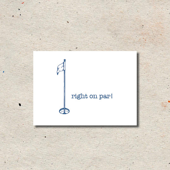 "cute little sketch of a golf flag with the text ""right on par"""