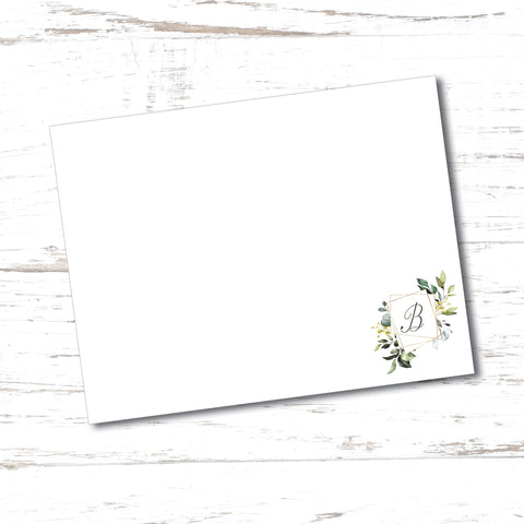 Geode Embellished Initial Flat Note Card (set of 20)