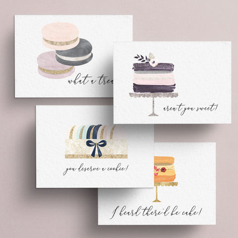 "Sweet gratitude assortment of notecards feature phrases of ""what a treat"", ""aren't you sweet"", ""you deserve a cookie"", and ""I heard there'd be cake"".  Perfect all occasion cards for thank yous and celebrations.  Note cards are blank inside."