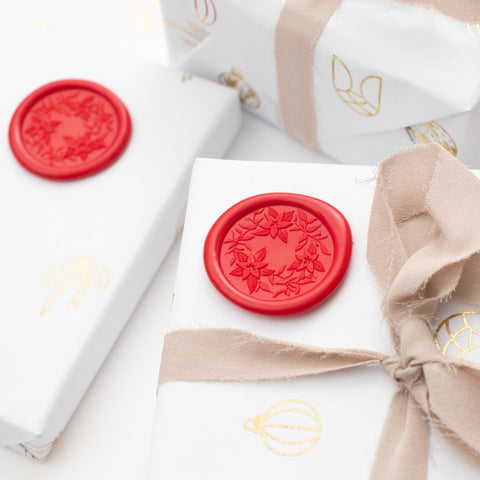 Poinsettia Wax Seals - 25 Pack