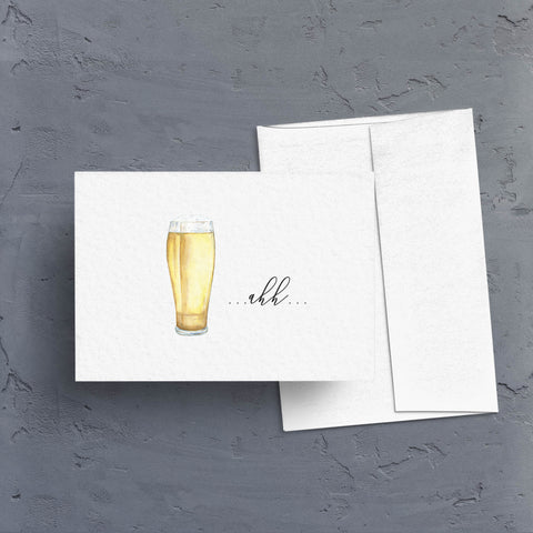 "A tall glass of cold beer with the caption ""...ahh..."" is the art on a great all purpose note card.  Celebrate the finish, toast to the work.  Note card is blank inside and comes as a singe or in boxes of 10 or 20."