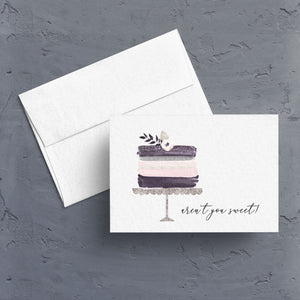 "A pretty little watercolor layer cake on a silver cake stand is the artwork next to a caption ""aren't you sweet!""  This is the perfect little all purpose thank you note.  Note card is blank inside and comes as a single, in an assortment, or in boxes of 10 or 20."
