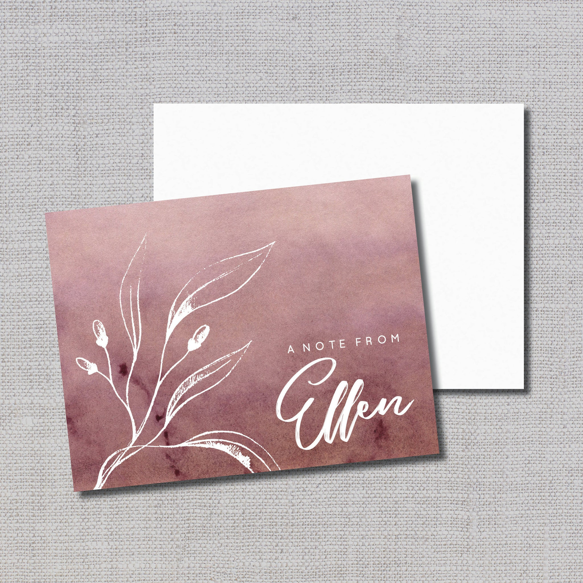 Personalized Note Cards (20) in Choice of Wine Emerald or Royal Blue Ombre & Calligraphy