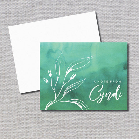 Set of 20 Personalized Note Cards in Choice of Wine Emerald or Royal Blue Ombre & Calligraphy