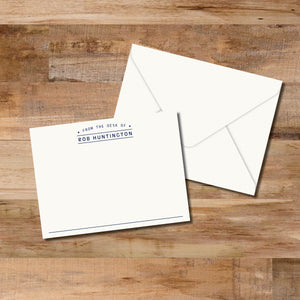 From the desk of personalized flat note cards are great masculine flat cards.  Personalized stationery makes a great gift.