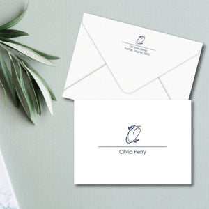 Personalized note cards feature a leafy embellished initial above a fully spelled out name.  Personalized stationery makes a great gift for mother's day, teacher appreciation, and so much more!