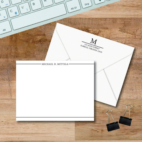 Simple, sophisticated personalized stationery.  Full name graces the top with borders on top and bottom.  Flat notecards are perfect for quick thank yous and professional correspondence.