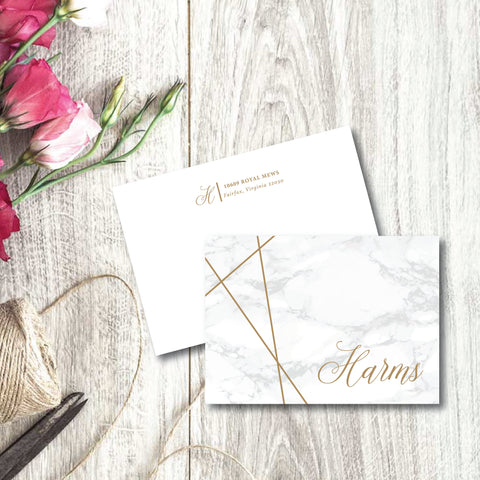 Beautiful marble background sets the stage for a lovely script name and bold geometric lines.  Note cards are blank inside.