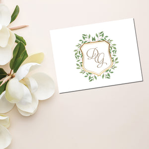 Ivy-style leafy greenery embellishes a golden frame around a script monogram on these beautiful personalized note cards.  Cards are blank inside and come with matching envelopes.  Personalized stationery makes a great gift!
