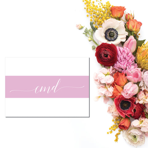 Bold pink stripe surrounds a leggy script 3-letter monogram on these personalized note cards.  Personalized stationery makes a great gift.  Cards are blank insdie.