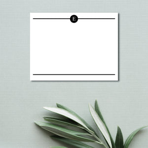 Circle Initial Flat Note Card (set of 20)