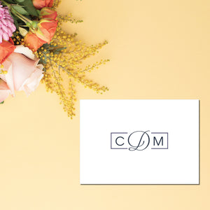 Folded note cards feature a 3 letter monogram on the face uniquely framed.  Blank inside.  Perfect personalized stationery makes a great gift for teachers, family members, administrative assistants, or anyone, really!